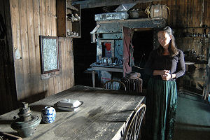 In Scott's Hut dressed as Kathleen Scott - click to enlarge